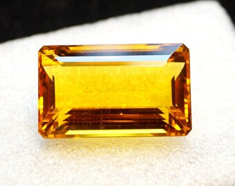 60% OFF - 39.50 Cts Citrine Stone Faceted Gemstone Emerald Cut Citrine Gemstone - Hydro Gemstone 27x17x12 mm  (A00-243)