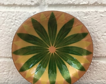 Vintage Annemarie Davidson Green & Yellow Flower Enamel Copper Dish (California)