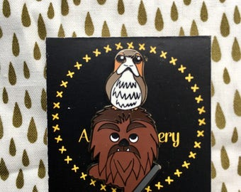Star Wars enamel pin, porg pin, Chewbacca enamel pin,