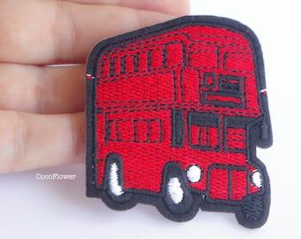 Red London Bus patch Double Decker Bus applique UK United kingdom