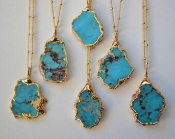 MEDIO AQUA  /// Redskin /// Turquoise Chunk Necklace /// Electroformed 24kt Gold
