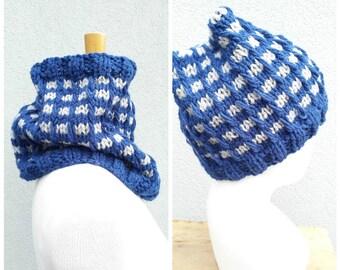Blue and grey men's set, men's cowl and hat set, cowl hat set, blue men's hat, grey men's cowl, knit blue cowl, men's set, knit wool cowl