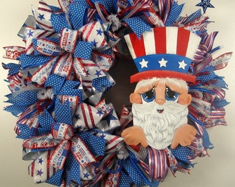 Patriotic Sam Mesh Wreath, Uncle Sam Wreath, Patriotic Decor, Americana Wreath, 4th of July Wreath, Celebration