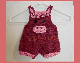 Baby Pony Overall Shorties, Buttons at Legs for Easy Change - INSTANT DOWNLOAD Crochet Pattern