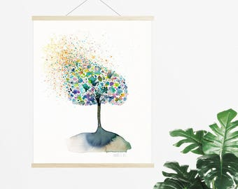 Tree of life painting. Colorful tree giclee print. Tree painting. Modern nature artwork. Tree art print from original watercolor painting.