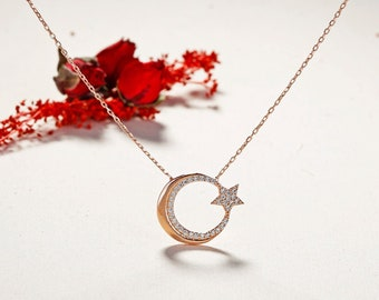 925 Sterling silver Moon star Necklace