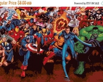 "marvel all characters Counted Cross Stitch marvel Pattern chart pdf file point de croix embroidery - 35.43"" x 23.57"" - L1675"