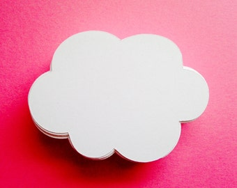 "White Cloud Die Cuts (2.5"" wide), Cloud Wish Tags, Baby Shower Decor"