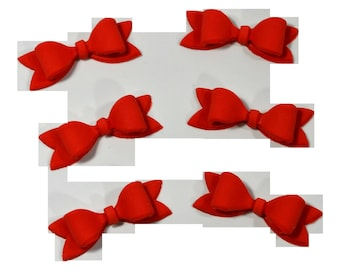 2 Red Gumpaste Bows Cake Topper Decorations