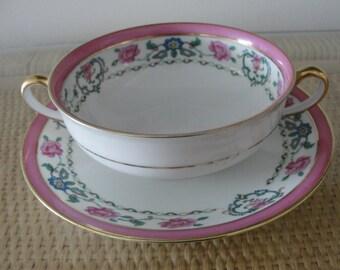 Limoges Porcelain Soup or Dessert Bowls and Saucers