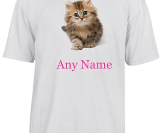 Personalised Kitten/Cat T Shirt  *Choice of name colours*