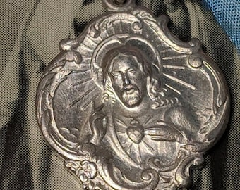 Big Sale Art Deco Sterling Silver Sacred Heart of Jesus Signed MM Religious Medal Pendant Holy Family Post 570 Detroit Michigan