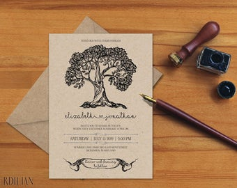 Wedding Invitation Template, Tree Wedding Invitation,Wedding Invite, Rustic Wedding Printable Template,PDF Instant Download | VRD155AB