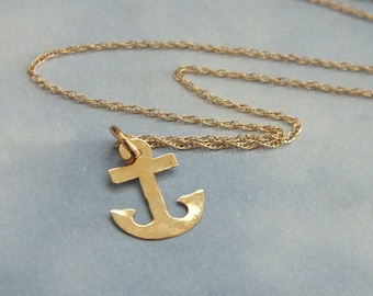 14k Solid Gold Anchor Necklace, Nautical Anchor Necklace, Boats, Sea Life, Marine Salt Life, Summer