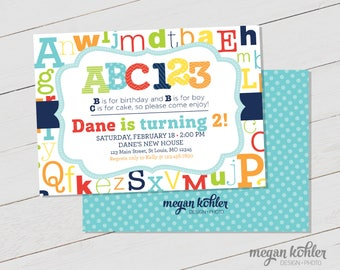 ABC 123 Invitation - Digital File - First Birthday - Second Birthday - Letters - Numbers