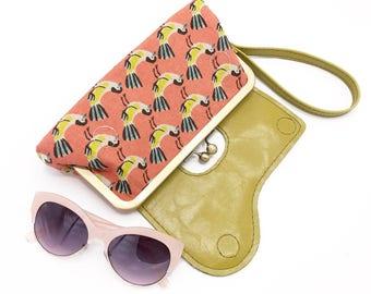 Vegan Bag, Vegan Wallet, Vegan Leather, Bird, Birds, Clutch Bag, Vegan Leather Wallet, Pink, Green, Wristlet, Wristlet Wallet, Leather Bag