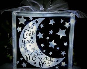 Love You to the Moon and Back Lighted Glass Block