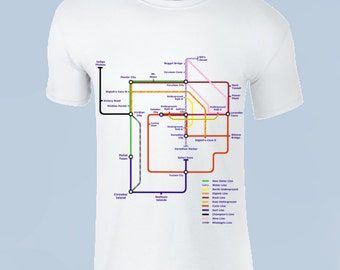 """Pokemon Map """"Kanto Tube"""" White Cotton T-Shirt"""