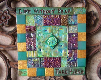 Mosaic Tiles - Mosaic Wall Art - Inspirational Mosaic Tiles - Seafoam Green Art - Spiritual Mosaic Wall Art - Life without Fear - Take Risks