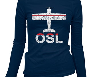 Women's Fly Oslo Long Sleeve Tee - OSL Airport - S M L XL 2x - Ladies' Oslo T-shirt, Norway, Norwegian, Norge - 2 Colors