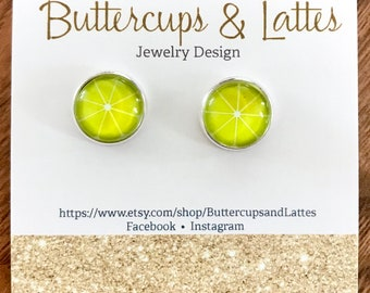 Lemon Slice Fruit Stud Earrings 12mm