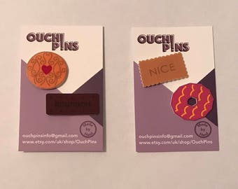 Classic Biscuit Pin Badges