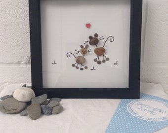 Couple of cats, animals, love, handmade pebble gift, 8 X 8 framed  to send