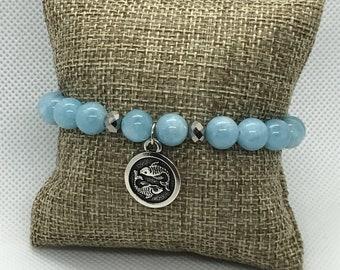 Aquamarine Bracelet with Pisces charm, Stackable