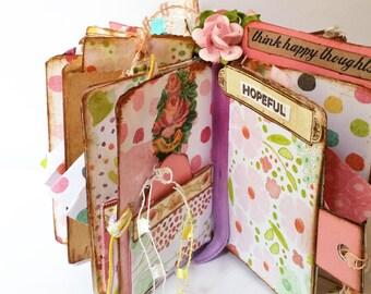 Inspirational Mini Journal Star Book, Handmade Book Journal, Shabby Chic Journal, Pink Journal, Valentines Day Gift - Gift for Mom