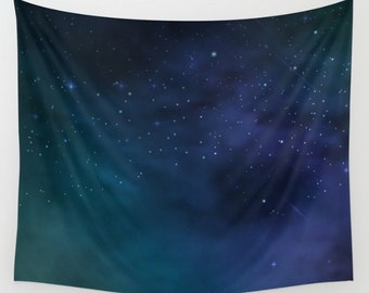 Galaxy Art Tapestry. Starry Night. Clouds and Space. Aurora Colors Cloudy Wall Hanging Tapestry. Star Gazing. Astronomy. Wall Decor. TGN02