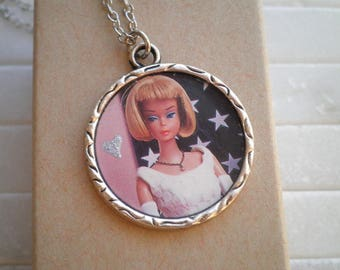 Vintage Barbie Necklace - Classic Barbie + Hand Painted Silver Heart Pendant Jewelry Gift - Iconic 1950s Barbie Cameo Upcycled Paper Charm