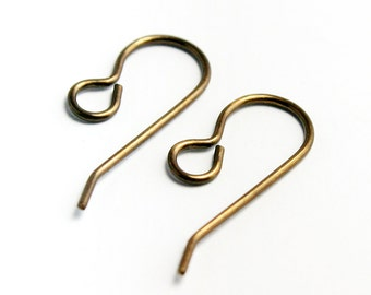 20x10mm French Ear Wires,  Natural Brass Finish, Set of 10 (5 pairs) Made in USA, #V100