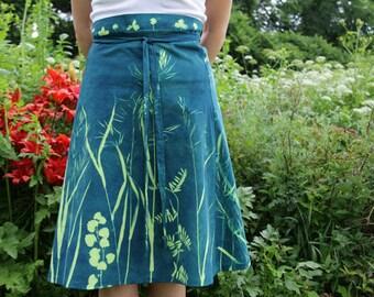 cyanotype wrap-around skirt