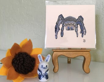 Mini original watercolor painting of a grumpy spider. Small original artwork spider the perfect lighthearted gift. Wildlife art home decor