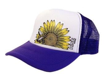 Sunflower Bee Trucker Hat - Purple/White Mesh Back Snap Hat