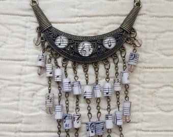 Sheet music paper beads statement necklace