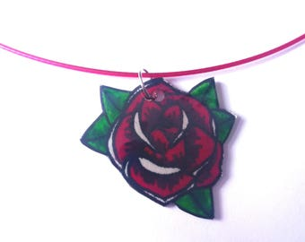 Hand drawn tattoo style rose necklace