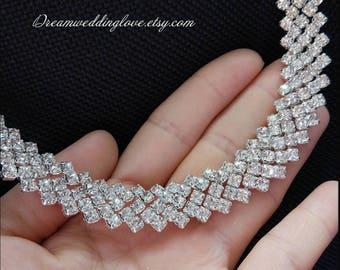 High quality  Rhinestone Trim by the Yard, Rhinestone collar Applique,Crystal applique, Sash Applique,Bride hair band,DIY Wedding