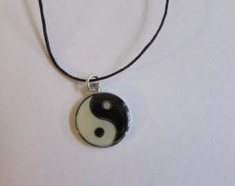 Yin Yang Enamel Charm On Wax Cord Adjustable Unisex Free UK Shipping + Gift Bag CH2