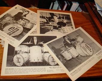 Four Great Famous Vintage Drum Posters ~ Gretsch Bellson, Shanahan, Mann, Manne ~ Frame!