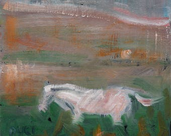 """Magical White Horse, minature oil painting by puci, 4x4"""""""