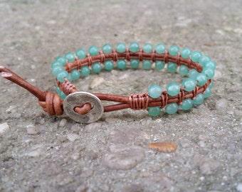 LATE SHIP green aventurine leather wrap bracelet beaded boho bracelet heart chakra earthy leather gemstone beads tree of life but