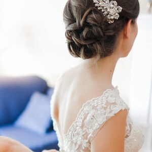 Pearl Bridal Hair Comb, Vintage Style Crystal Wedding Hair Comb, Rose Gold Bow Bridal  Hair Comb, Bridal Wedding Hair Accessories, CADENCE