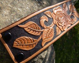 Leather Tooled Bracelet
