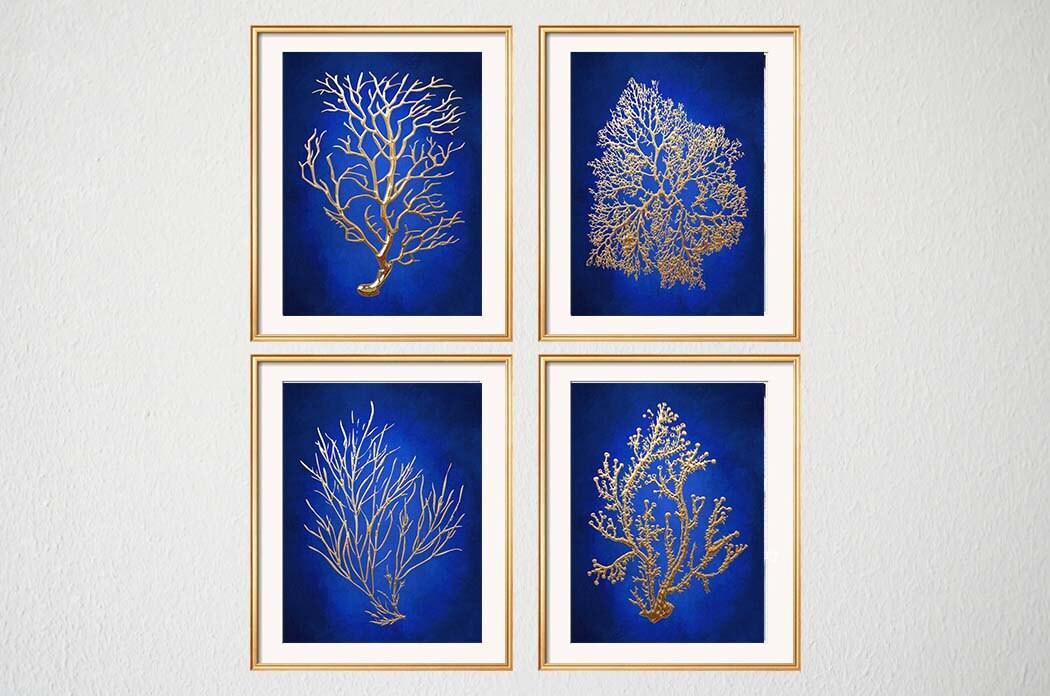 Blue Gold Wall Art Chinoiserie Wall Art Indigo Blue Blue