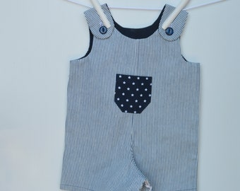 striped overalls for babies and toddlers - made using a sturdy cotton drill fabric