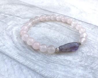 Rose Quartz Bracelet - Rose Quartz Jewelry - Rose Bracelet - Pink Quartz Bracelet - Love Stone Bracelet - Amethyst Bracelet - Fertility Gift