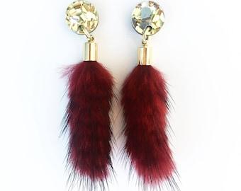 FUR drop earrings. Maroon fur gold and silver glitter stud.