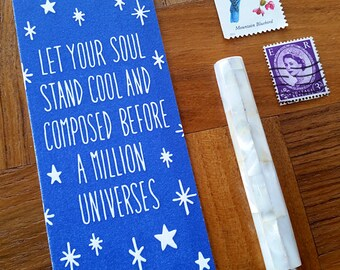 Walt Whitman Quote, Letterpress Bookmark