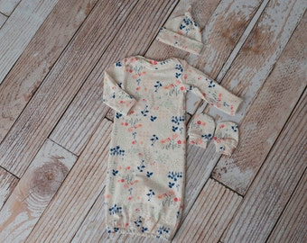 Newborn Coming Home Baby Gown, Hat, Scratch Mittens Set Floral with navy, pink and cream flowers